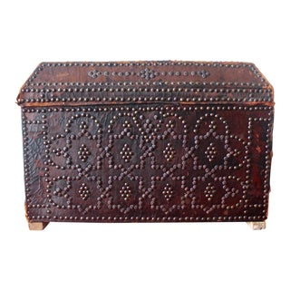 Antique 18th-19th Century Spanish Colonial Leather Studded Travel Trunk For Sale