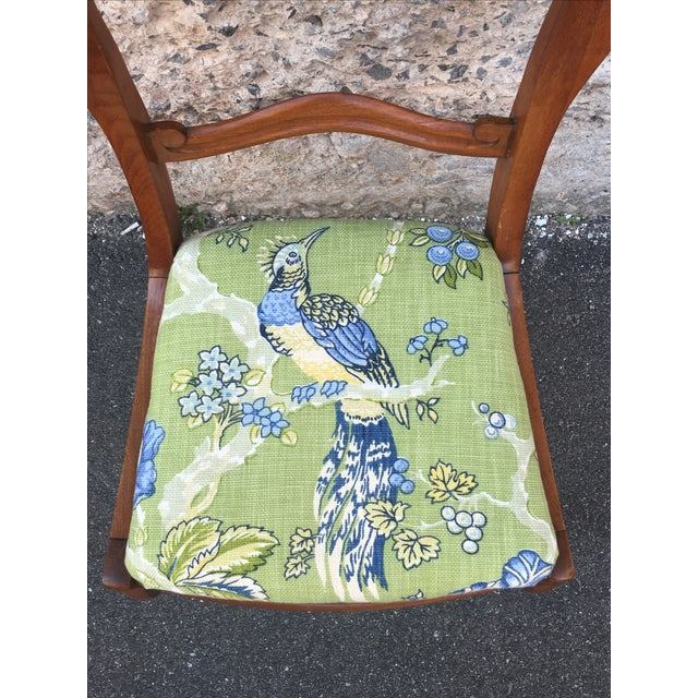 Blue & Green Peacock & Floral Chair - Image 6 of 6