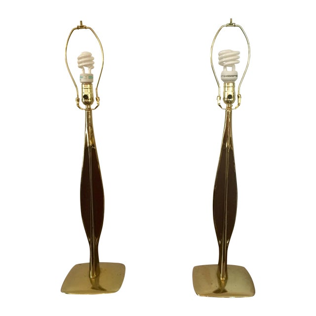 Laurel Lamp Co. Brass & Walnut Lamps - Pair For Sale