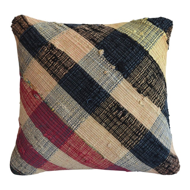 """16"""" Vintage Handmade Ragrug Rug Pillow Cover With Free Insert For Sale"""