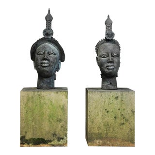 Indonesian Male & Female Concrete Garden Sculptures - A Pair For Sale