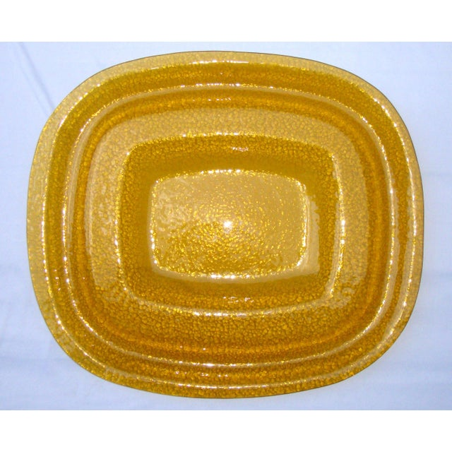 Art Deco Amber Yellow Glass Server Tray - Image 2 of 8