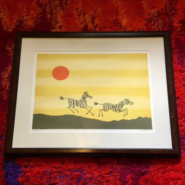 Lithograph Framed Zebra Lithograph by Keith DeCarlo For Sale - Image 7 of 7