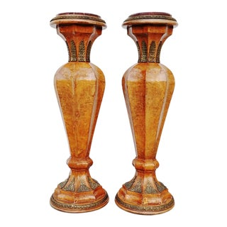 French Wooden Column Marble Top Pedestals With Ornate Bronze Mounts - a Pair