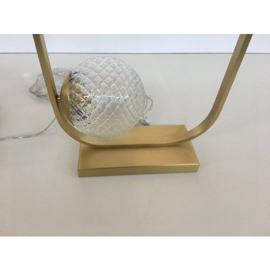 Early 21st Century Lot of 2 Vintage Style Table Lamp in Brushled Gold and Murano Glass Balls For Sale - Image 5 of 6