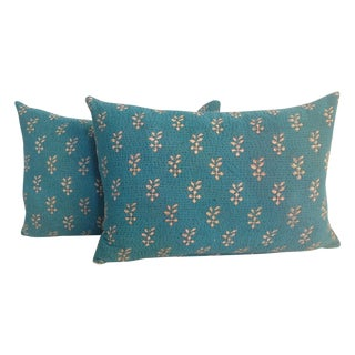 Vintage Teal Kantha Quilt Pillows - A Pair For Sale