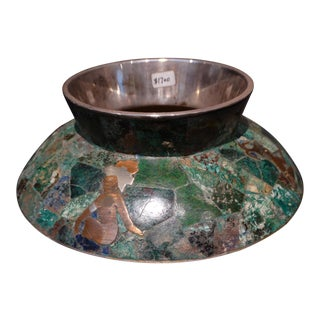Los Castillo Silver, Copper, Malachite and Lapis Aztec Motif Low Vase For Sale