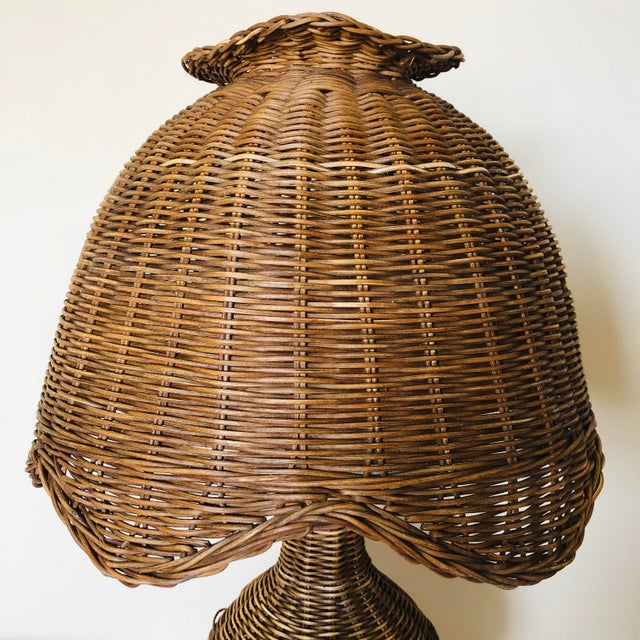Boho Chic Vintage Wicker Table Lamp For Sale - Image 3 of 8