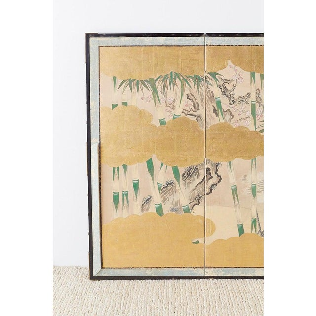 Japanese Pair of Japanese Six Panel Meiji Crane Landscape Screens For Sale - Image 3 of 13