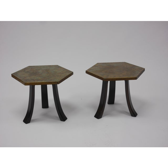 Pair of Harvey Probber Hexagonal Acid-etched Bronze Occasional Tables . an Unusual Variant With Applied Patina in Blueish...