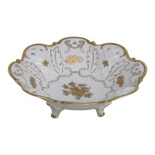 Reichenbach Pierced Lattice Gold Flowers Porcelain Footed Centerpiece Bowl 2494b For Sale