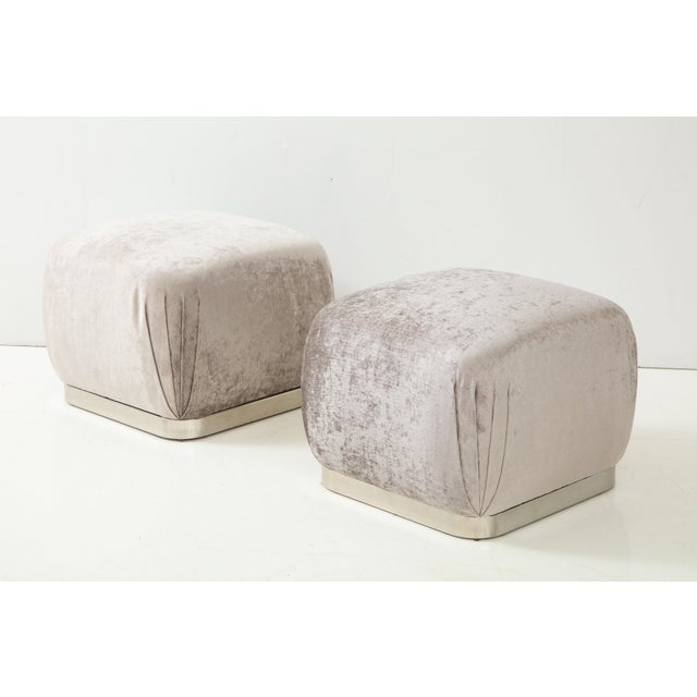 1980s Souffle Ottomans or Poufs by Karl Springer - a Pair For Sale - Image 5 of 10