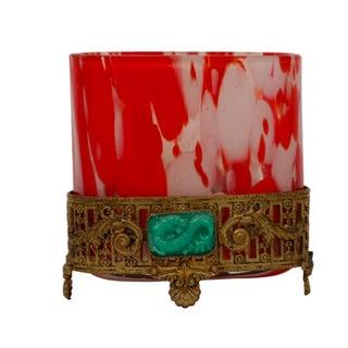 Red & White Art Glass & Ormolu Chinoiserie Vase