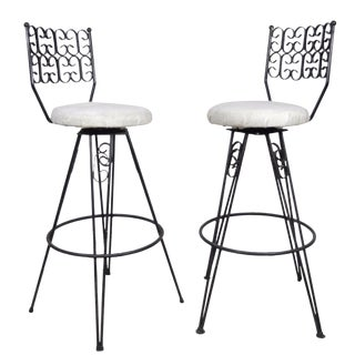 Vintage Arthur Umanoff Grenada Mid Century Modern Wrought Iron Barstools Chairs - a Pair For Sale