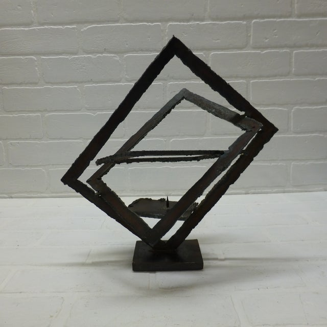 Black Mid-Century Hand Forged Brutalist Sculptural Candle Holder For Sale - Image 8 of 11
