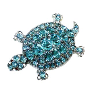 Large Vintage Aqua Blue Jeweled Turtle Brooch For Sale