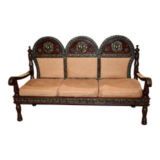 Vintage Ornate Middle Eastern Settee For Sale