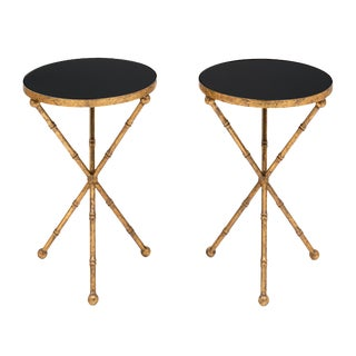 Gold Bamboo Tripod Tables-A Pair For Sale
