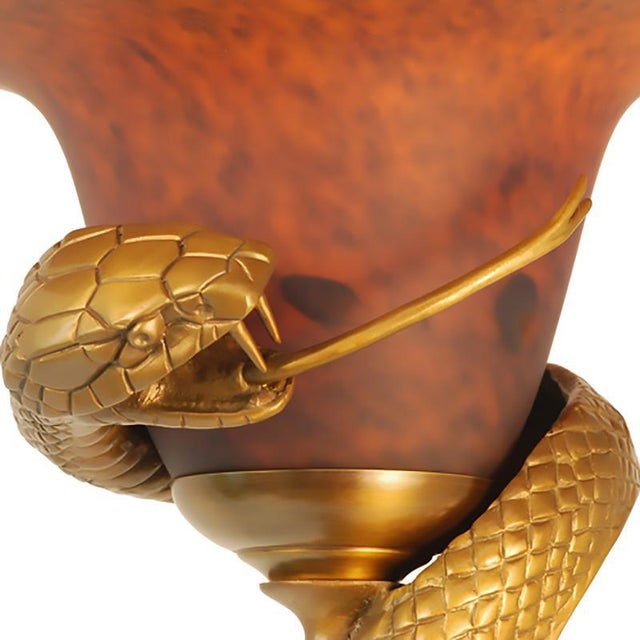 Custom Snake Lamp Stylized After the Original Designed (Sculpted) Concept of Edgar Brandt. Depicts a Highly Detailed Snake...