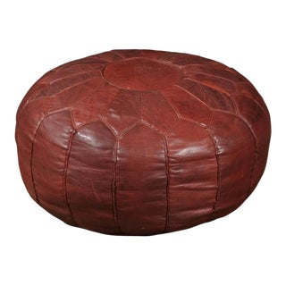 Large Vintage Moroccan Round Leather Pouf For Sale