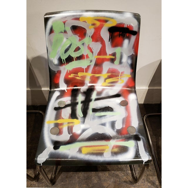 Spray Paint Graffitied Carl Ojerstam Chairs Painted by Artist Lionel Lamy For Sale - Image 7 of 9