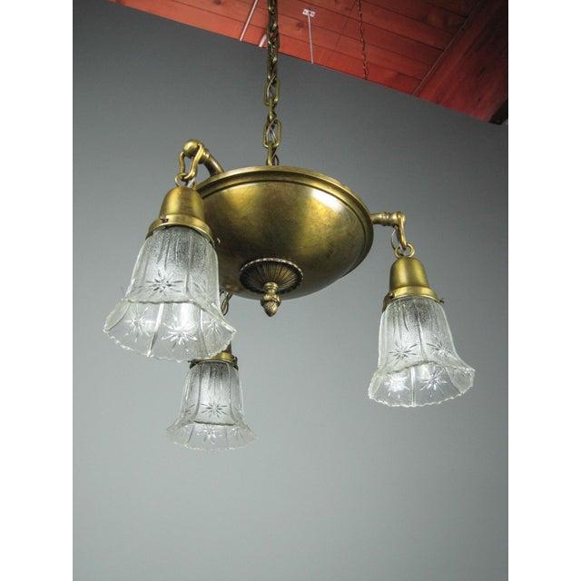 Original Arts & Crafts Pan Light Fixture (3-Light) - Image 4 of 8