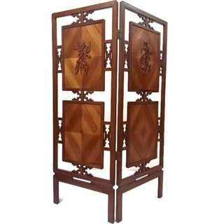 Mid Century Chinoiserie Folding Screens Chinese Fretwork Wood Panels- A Pair Preview