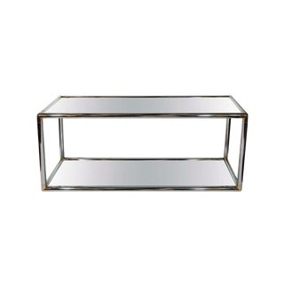 1970s Vintage Tubular Chrome and Glass Console Table For Sale
