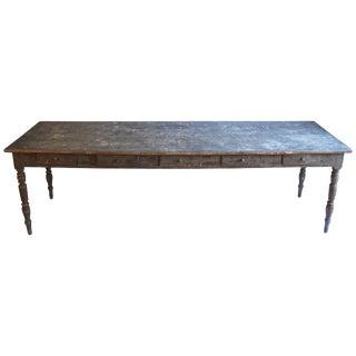 19th Century Zinc Top Farm Table For Sale