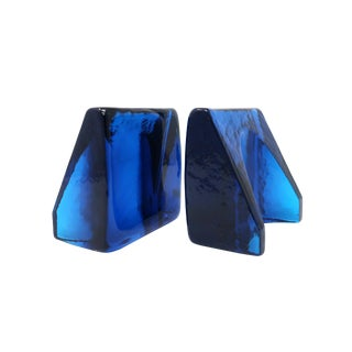 Blue Cast Glass Bookends by Wayne Husted for Blenko For Sale