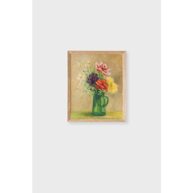 Mid 20th Century Framed Vintage Floral Oil Painting, M. Schwartz For Sale - Image 5 of 5