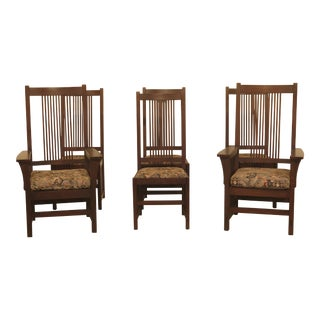 1990s Vintage Stickley Mission Oak Arts & Crafts Dining Chairs- Set of 6 For Sale