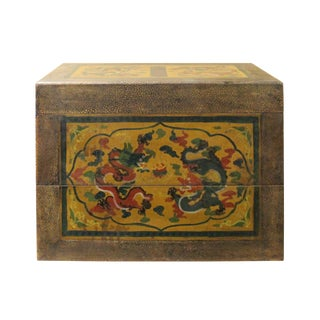 Chinese Distressed Yellow Brown Dragon Graphic Rectangular Box For Sale