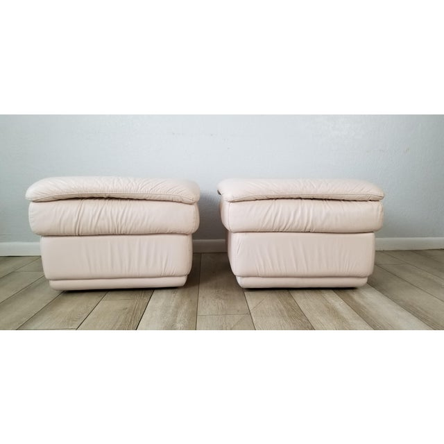 Postmodern 80s Italian Postmodern Style Leather Ottomans. - a Pair For Sale - Image 3 of 13
