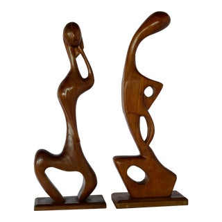 Picasso Style Abstract Wooden Sculptures - a Pair For Sale