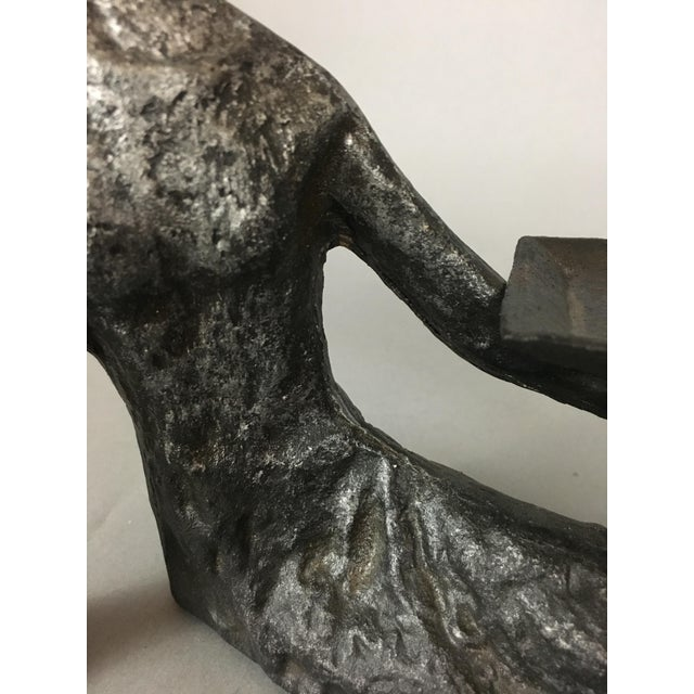 Mid-Century Metal Sculpture of Reclining Female Business Card Holder For Sale - Image 10 of 12