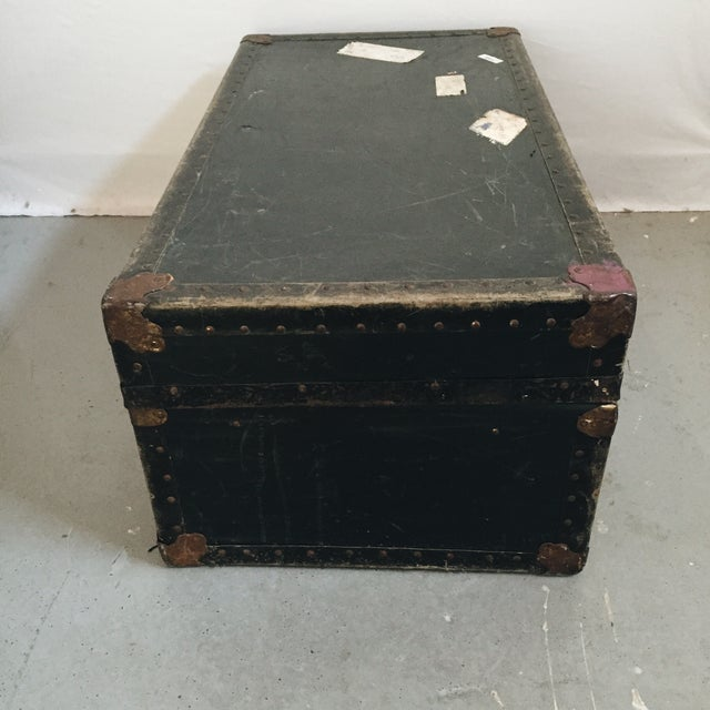 Vintage Brass Hardware Steamer Trunk - Image 3 of 5