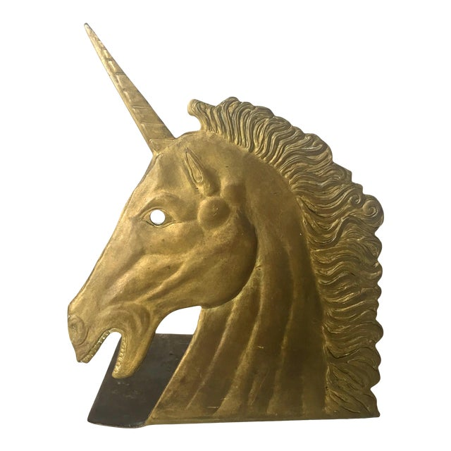 Vintage Brass Unicorn Bookend - Image 1 of 5