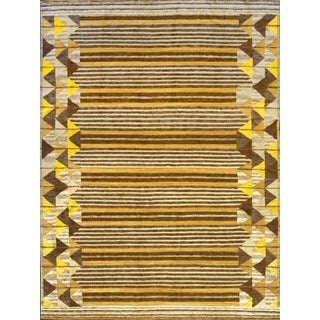 Wool With Silk Accents Swedish Inspired Handwoven Rug For Sale
