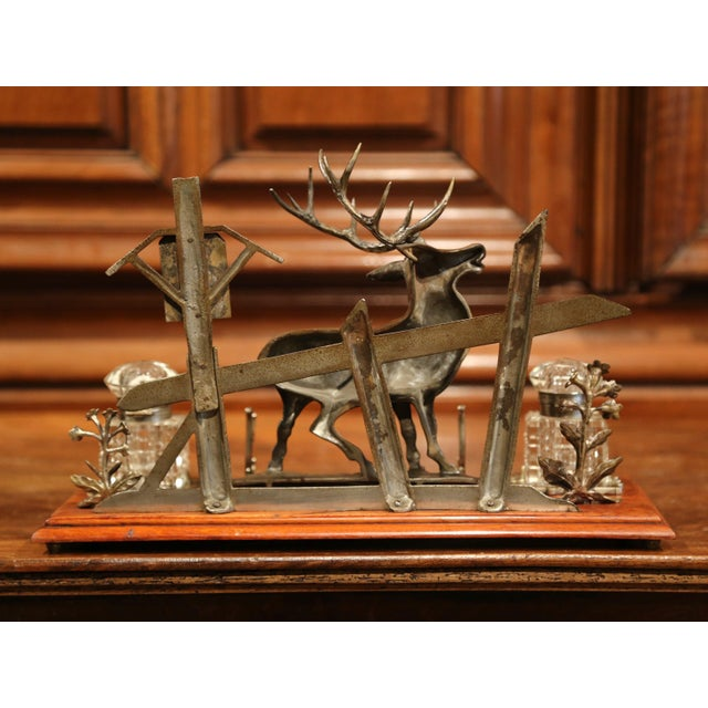 Mid 20th Century French Spelter and Cut Glass Inkwell With Deer Sculpture For Sale - Image 9 of 10