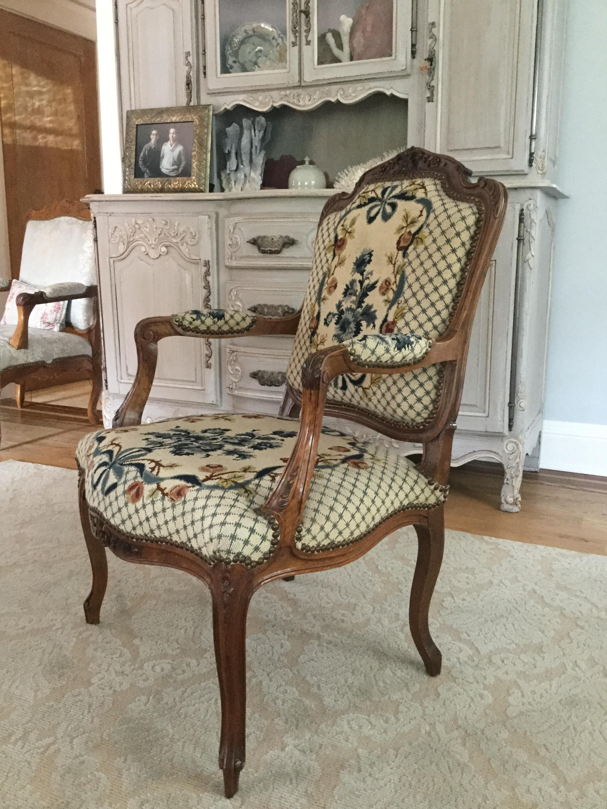Superior French Needlepoint Chairs   A Pair   Image 9 Of 9