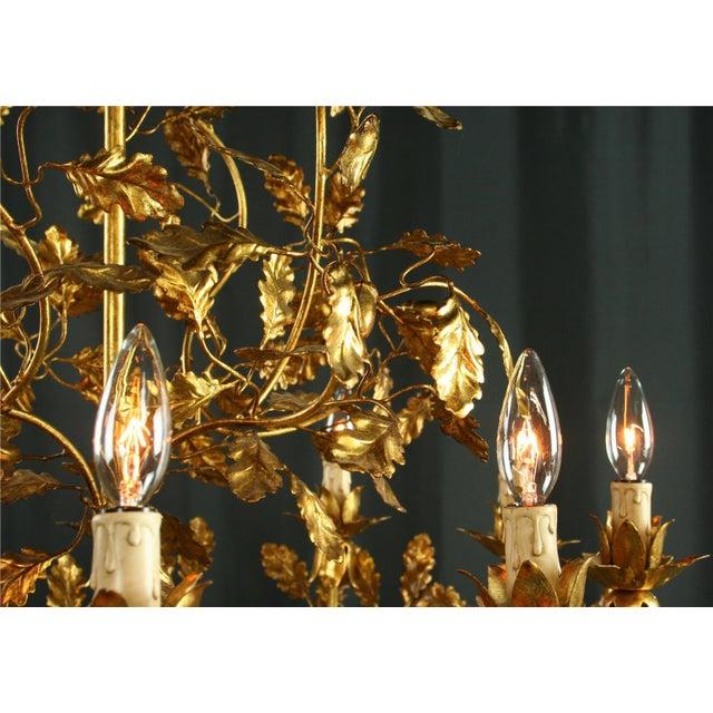 Italian Italian Golden Metal Chandelier For Sale - Image 3 of 8