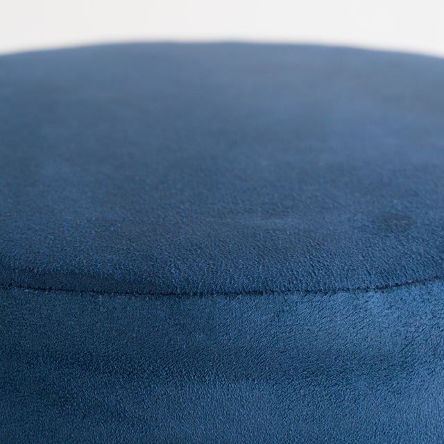 Not Yet Made - Made To Order Artifact Accent Ottomans in Navy Premium Faux Suede by Object Refinery- Pair For Sale - Image 5 of 6