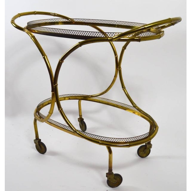 Faux Bamboo Serving Cart, Trolley in Brass and Glass For Sale - Image 4 of 11