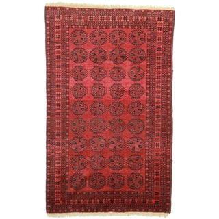 RugsinDallas Hand Knotted Wool Afghan Turkmen Rug - 4′8″ × 7′7″ For Sale