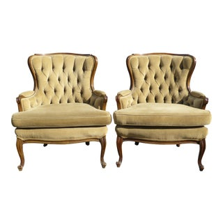 Vintage French Provincial Style Tan Corduroy Tufted Accent Chairs - a Pair
