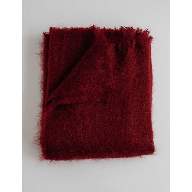 Mohair Throw in Garnet For Sale - Image 13 of 13