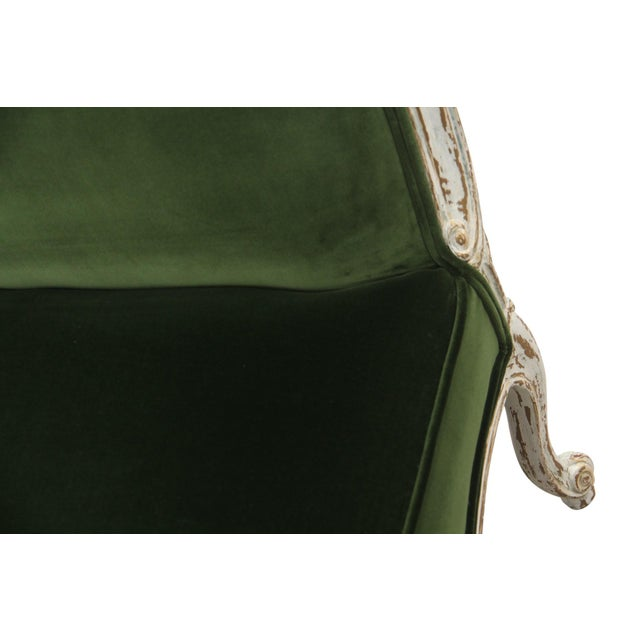 Vintage Mid Century French Provincial Green Velvet Slipper Chairs- A Pair For Sale In Tampa - Image 6 of 8