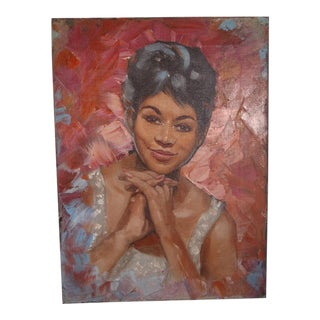 """1960s """"Portrait of Dee Dee Sharp"""" Oil Painting For Sale"""