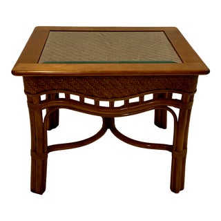 Boho Chic Bentwood and Rattan Side Table With Glass Top For Sale